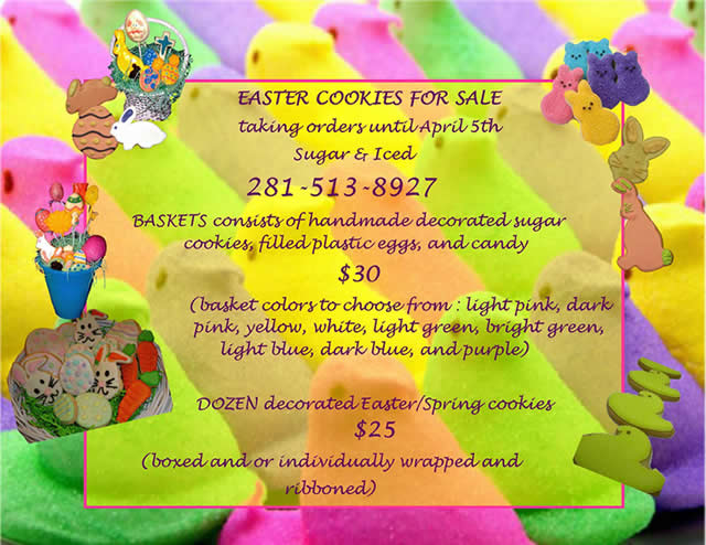 Easter Baskets filled with Decorated Cookies and other treats